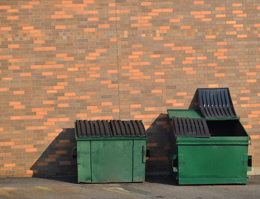 dumpsters against a wall